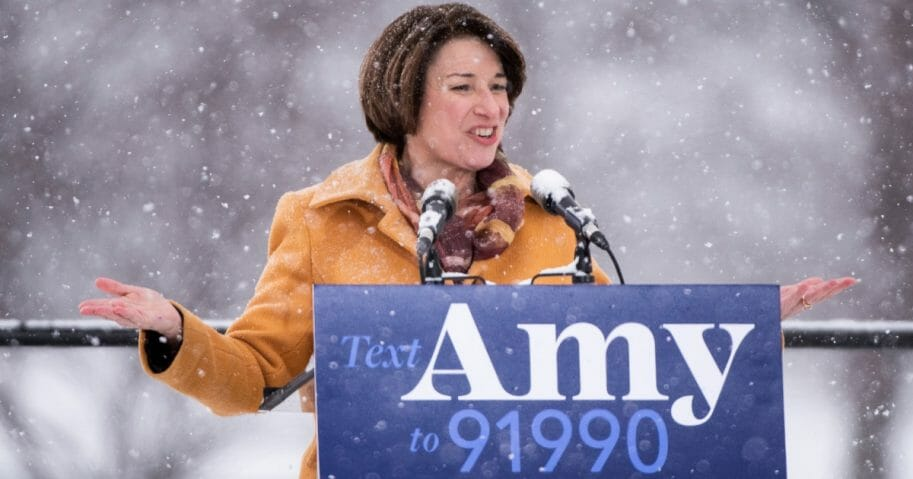 Sen. Amy Klobuchar announces her presidential bid in front of a crowd gathered at Boom Island Park on Feb. 10, 2019 in Minneapolis, Minnesota.