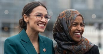 Rep. Alexandria Ocasio-Cortez, Democrat of New York, and Rep. Ilhan Omar, Democrat of Minnesota.
