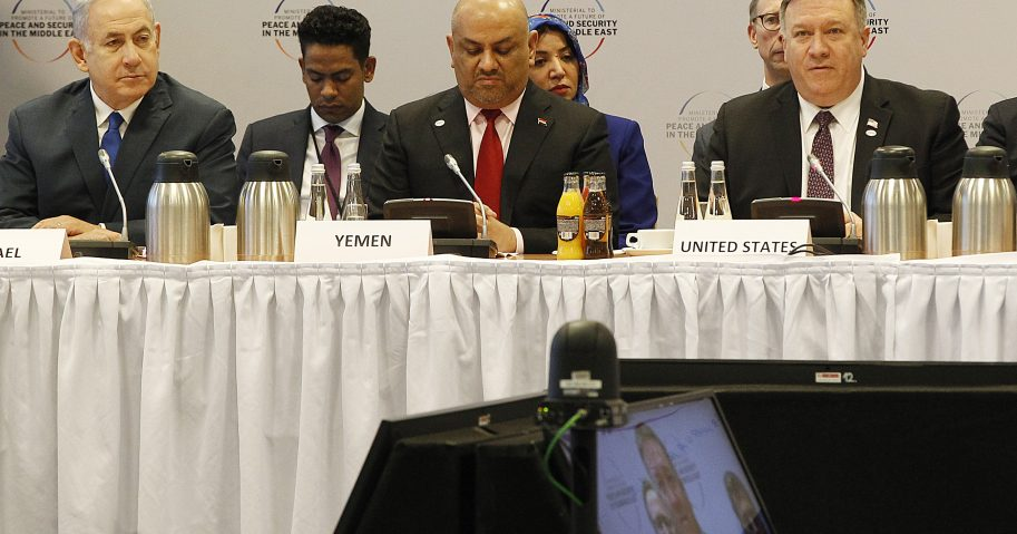 From left, Israeli Prime Minister Benjamin Netanyahu, Yemen's Foreign Minister Khalid al-Yamani and US Secretary of State Mike Pompeo attend a session at the conference on Peace and Security in the Middle east in Warsaw, Poland, Thursday, Feb. 14, 2019.