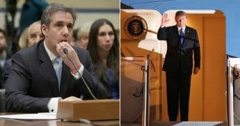 Michael Cohen testifies before the House Oversight Committee; President Donald Trump waves after arriving at Noi Bai airport in Hanoi on February 26, 2019, ahead of the second U.S.-North Korea summit.