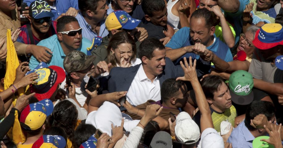 Venezuelan opposition leader Juan Guaido, center