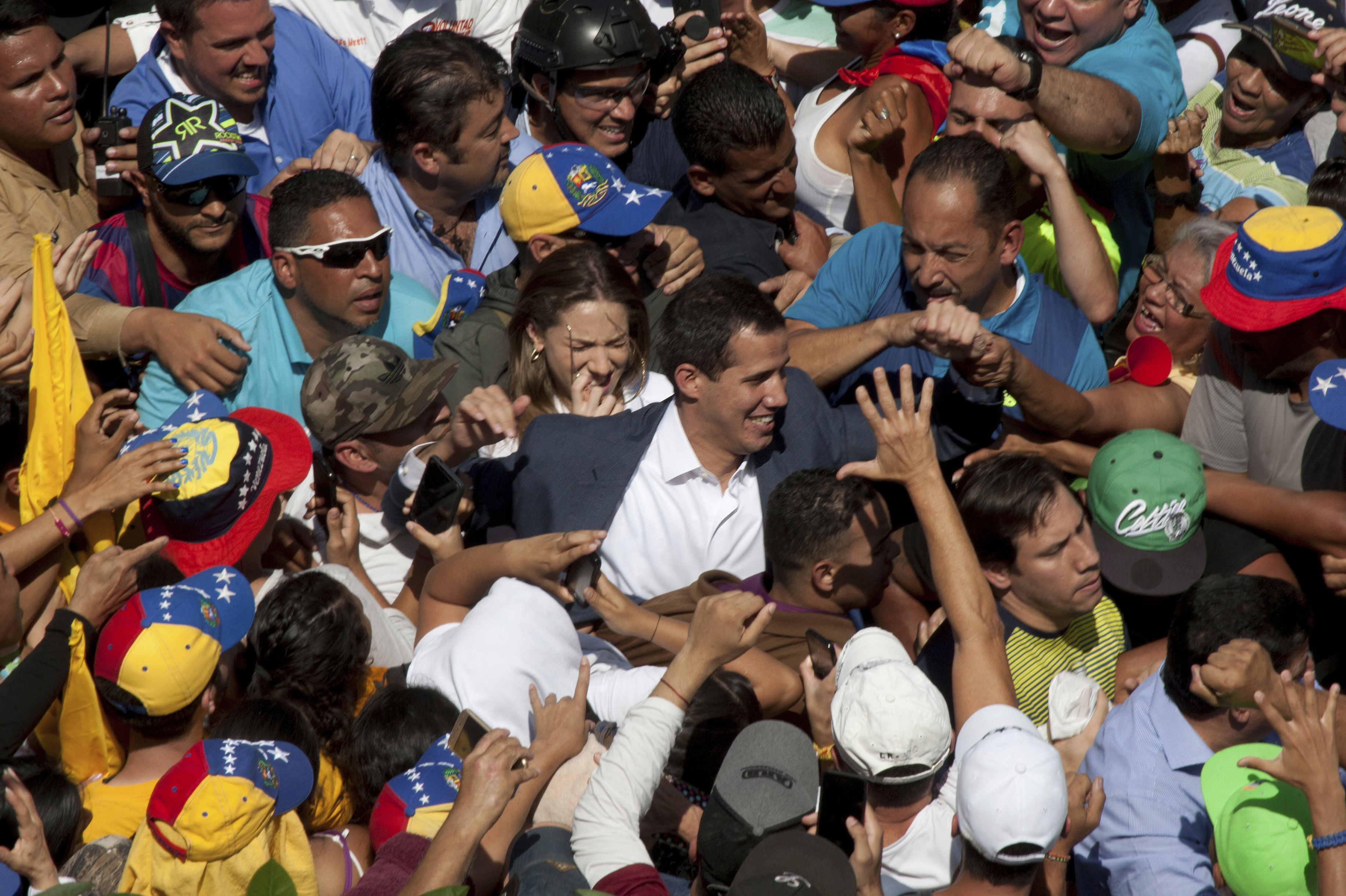Venezuelan opposition leader Juan Guaido, center