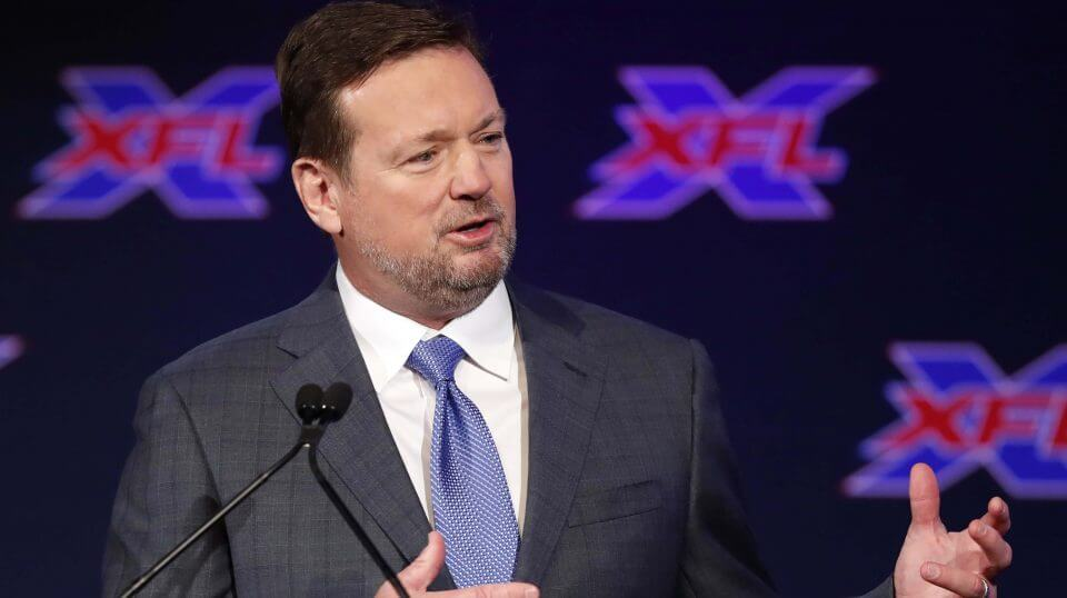 Bob Stoops speaks after being introduced as the new head coach and general manager of the XFL Dallas football team during a news conference in Arlington, Texas, on Thursday.