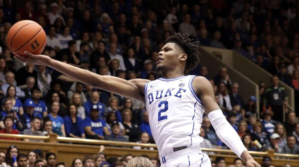 Duke's Cam Reddish drives to the hoop against North Carolina State's Wyatt Walker on Saturday during the second half of their matchup in Durham, North Carolina.