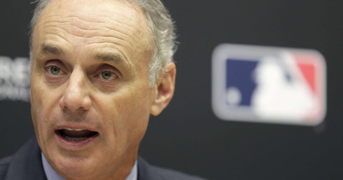 Baseball Commissioner Rob Manfred speaks during a news conference at MLB headquarters in New York in a 2017 file photo.