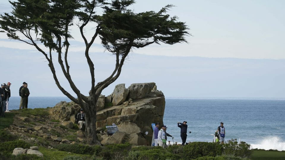 Phil Mickelson follows his drive from the 16th tee of the Monterey Peninsula Country Club Shore Course during the first round of the AT&T Pebble Beach National Pro-Am golf tournament Thursday.