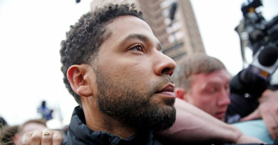 """""""Empire"""" actor Jussie Smollett leaves Cook County jail after posting bond on Feb. 21, 2019 in Chicago, Illinois."""