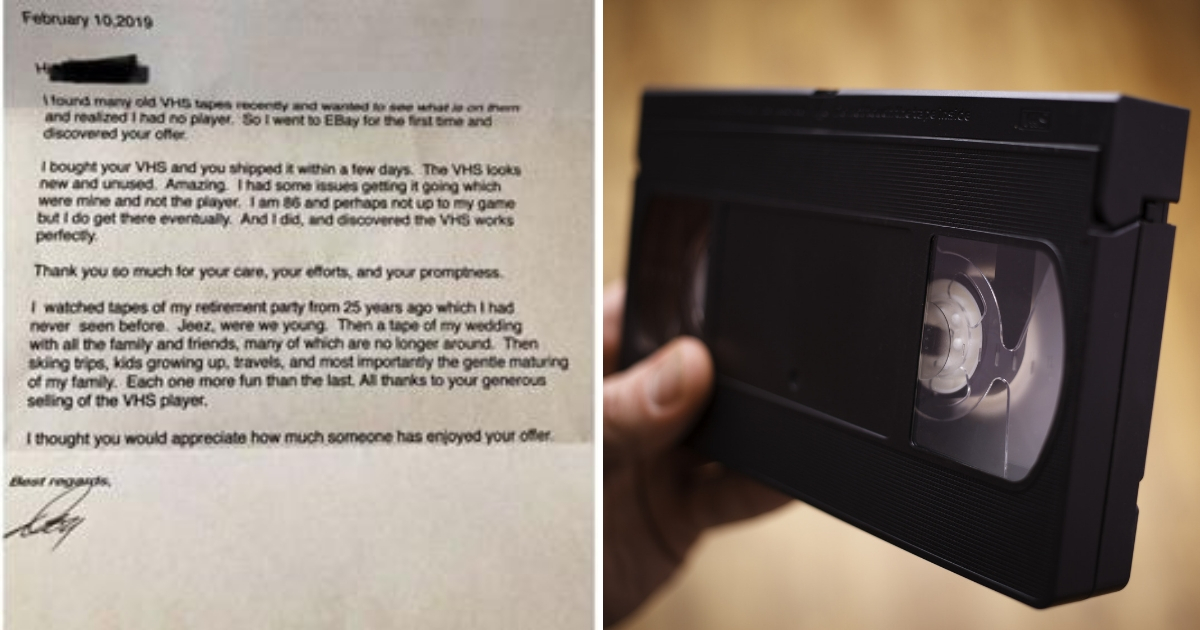 Letter, left, and VHS tape, right.