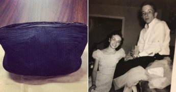 black purse, left, and high school prom picture, right.