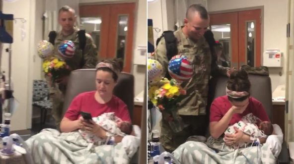 Soldier surprises wife in hospital with newborn.