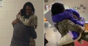 Military mom surprises her kids.