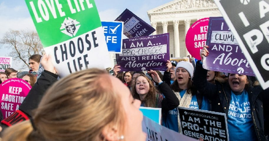 Pro-life demonstrators march outside the Supreme Court building on Jan. 18 at the annual March for Life in Washington.
