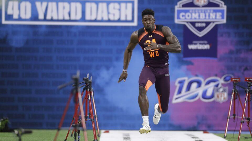 Mississippi wide receiver D.K. Metcalf runs the 40-yard dash during the NFL football scouting combine, Saturday, Mar. 2, 2019, in Indianapolis.