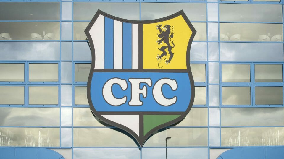 This Tuesday Aug. 2, 2016 file photo shows the logo of the Chemnitz FC soccer club at a stadium in Chemnitz, Germany.