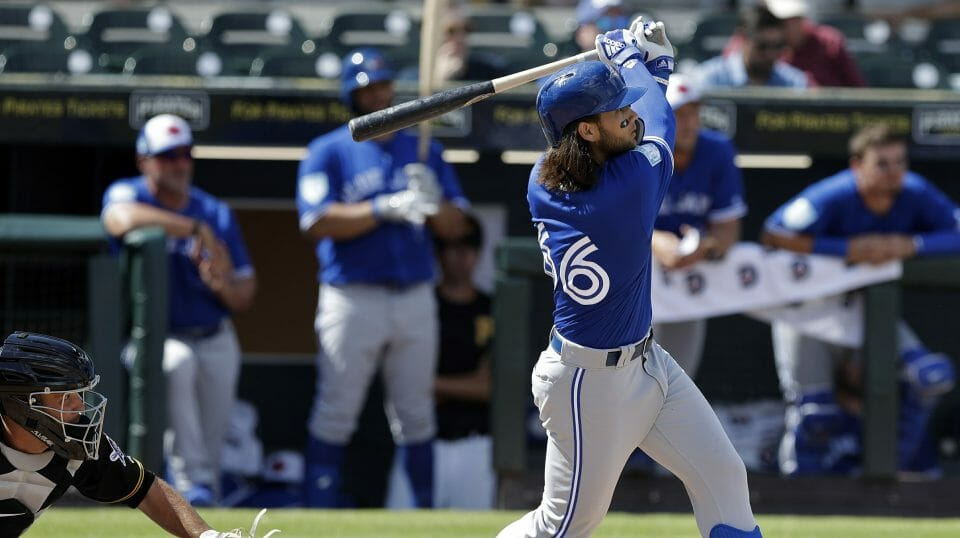 Toronto Blue Jays' Bo Bichette watches his two-run home run off Pittsburgh Pirates relief pitcher Matt Eckelman during the fourth inning of a spring training baseball game Friday, March 8, 2019, in Bradenton, Fla.