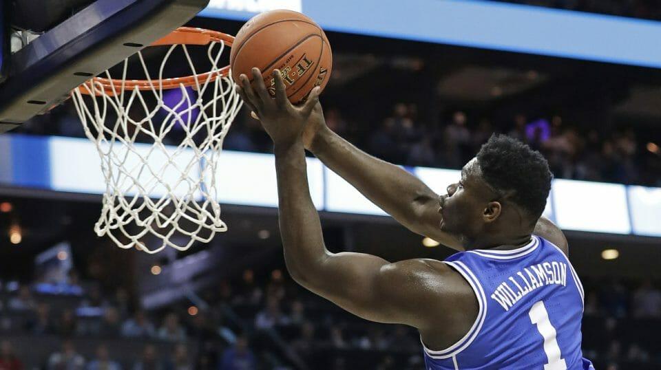 Duke's Zion Williamson drives to the basket against North Carolina.