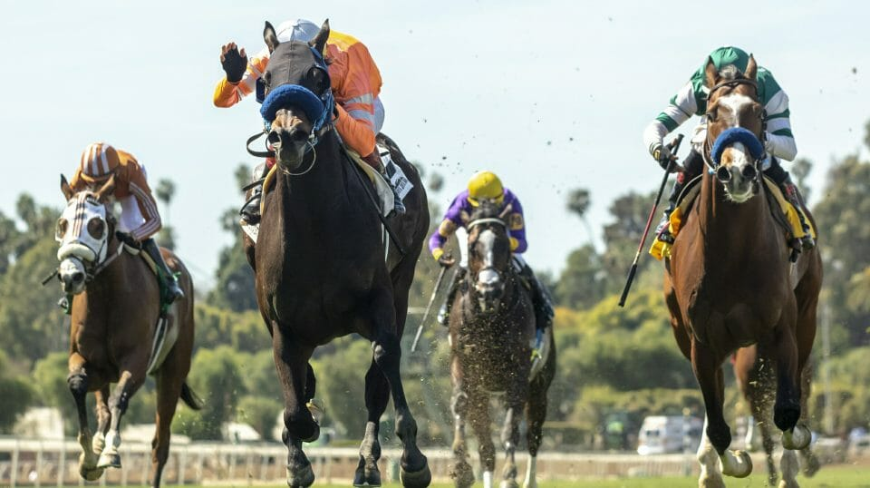 This image provided by Benoit Photo shows Law Abidin Citizen and jockey Tiago Pereira, second from left, outlegging Mesut (Geovanni Franco), left, Air Vice Marshal (Martin Garcia), third from left, and Cistron (Rafael Bejarano), right, to win the Grade III, $100,000 San Simeon Stakes, Sunday, March 31, 2019 at Santa Anita Park, Arcadia Calif.