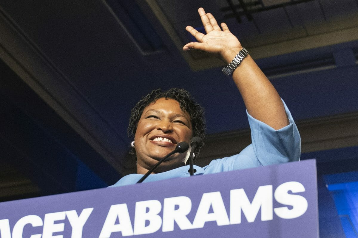 Former Georgia Democratic gubernatorial candidate Stacey Abrams speaks to supporters in Atlanta.