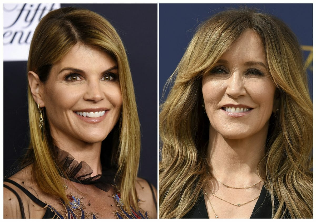 This combination photo shows actress Lori Loughlin at the Women's Cancer Research Fund's An Unforgettable Evening event in Beverly Hills, Calif., on Feb. 27, 2018, left, and actress Felicity Huffman at the 70th Primetime Emmy Awards in Los Angeles on Sept. 17, 2018.