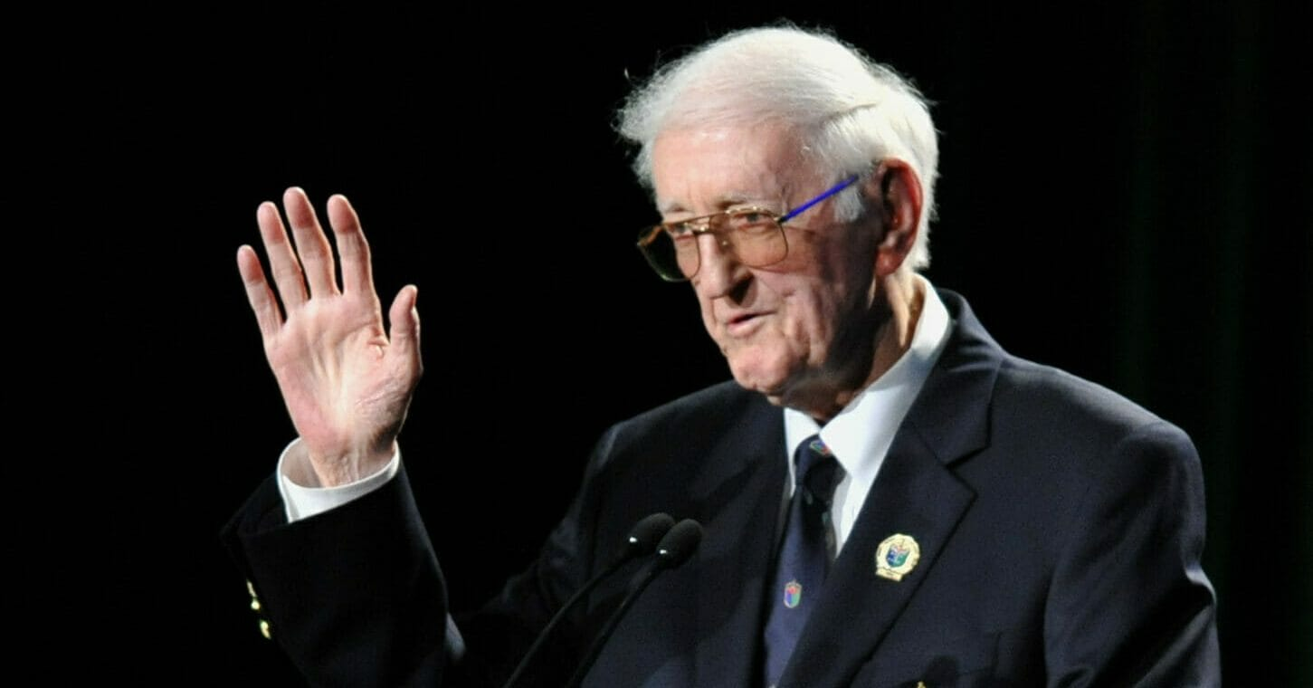 In this May 7, 2012, file photo, sports writer Dan Jenkins speaks after receiving the lifetime achievement award during the World Golf Hall of Fame inductions at World Golf Village in St. Augustine, Fla.