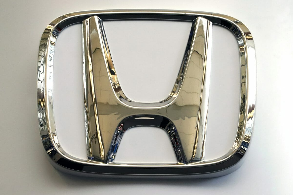Honda logo on a sign at the 2019 Pittsburgh International Auto Show in Pittsburgh.