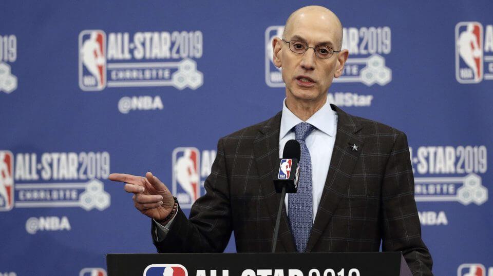 NBA Commissioner Adam Silver speaks during NBA All-Star festivities in Charlotte, N.C. on Feb. 16, 2019.