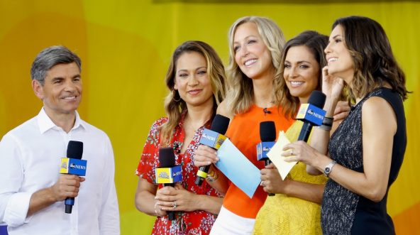 ABC anchors George Stephanopoulos, Ginger Zee, Lara Spencer and Paula Faris pose during the Fall Out Boy performance on ABC's 'Good Morning America' at Rumsey Playfield, Central Park.