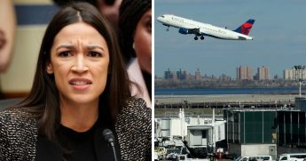 Alexandra Ocasio-Cortez; airplane takes off from LaGuardia Airport