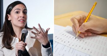 Rep. Alexandria Ocasio-Cortez, left; a standardized test-taking, right.
