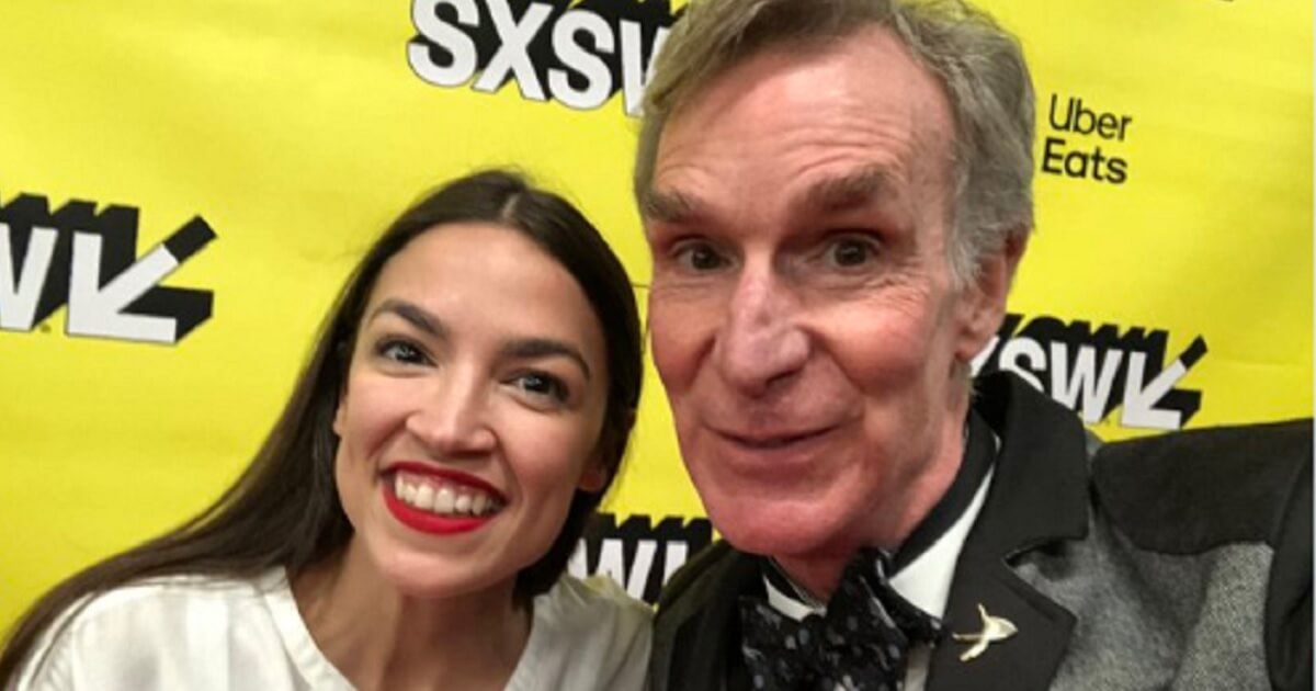"Rep. Alexandria Ocasio-Cortez and Bill Nye ""The Science Guy."""