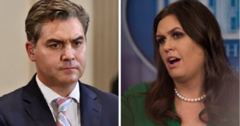 CNN White House correspondent Jim Acosta, left; White House press secretary Sarah Sanders, right.