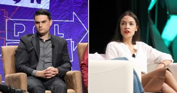 Ben Shapiro speaks onstage at Politicon 2018, left. Rep. Alexandria Ocasio-Cortez speaks onstage at the 2019 SXSW Conference and Festivals at Austin Convention Center, right.