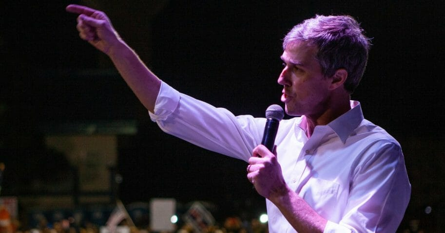 Former candidate for U.S. Senate Beto O'Rourke speaks to thousands of people February 11, 2019, in El Paso, Texas.