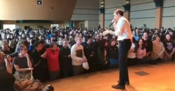 Beto O'Rourke answers questions at Penn State campaign stop
