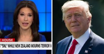 CNN's Ana Cabrera, left; President Donald Trump, right.
