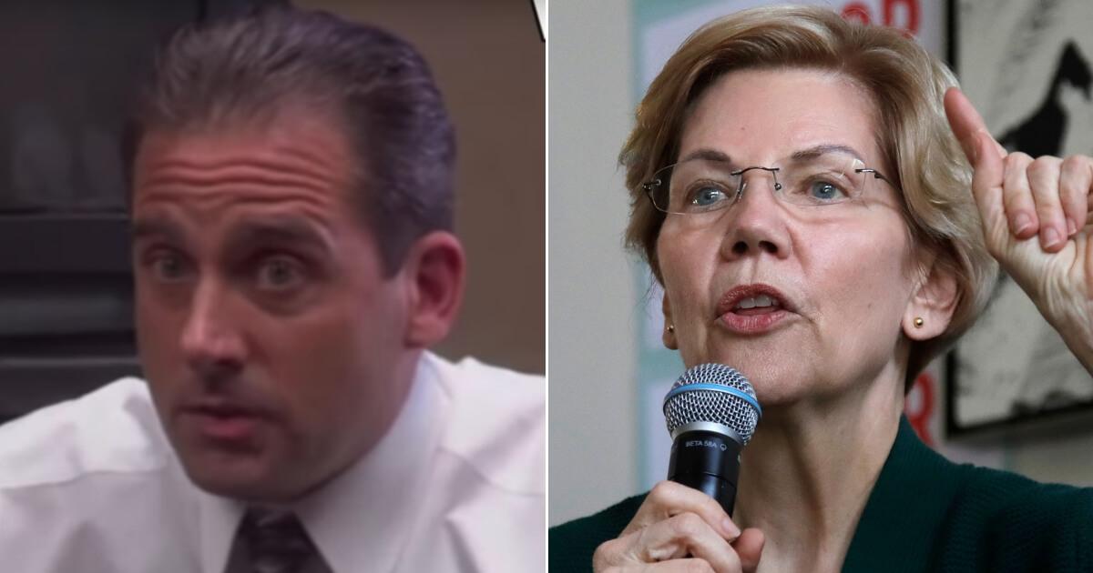Actor Steve Carell as Michael Scott; Senator Elizabeth Warren