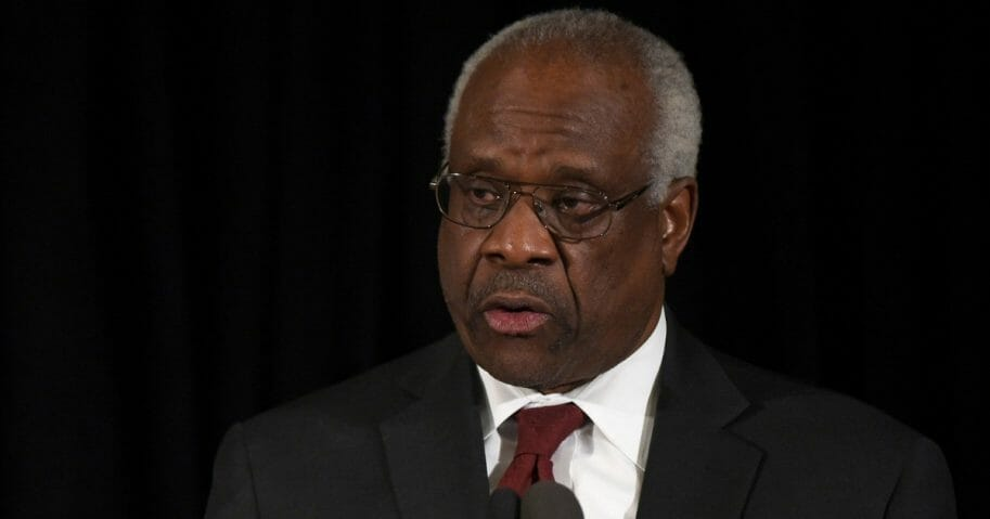 Supreme Court Justice Clarence Thomas speaks at the memorial service for former Supreme Court Justice Antonin Scalia at the Mayflower Hotel March 1, 2016 in Washington, D.C.