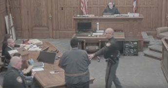 CCTV surveillance camera of Manson Bryant lashing out at Judge Eugene Lucci.
