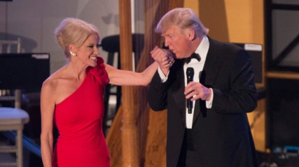 President-elect Donald Trump with Kellyanne Conway at the Indiana Society Ball on January 19, 2017, in Washington, D.C.
