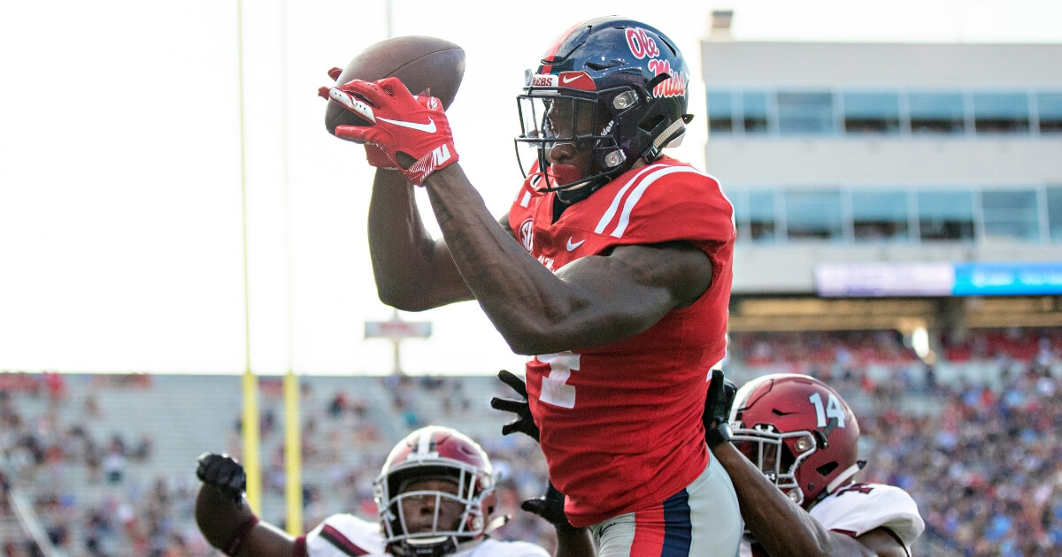 D.K. Metcalf of the Mississippi Rebels catches a pass during a game against the Southern Illinois Salukis on Sept. 8, 2018, at Vaught-Hemingway Stadium in Oxford, Mississippi.