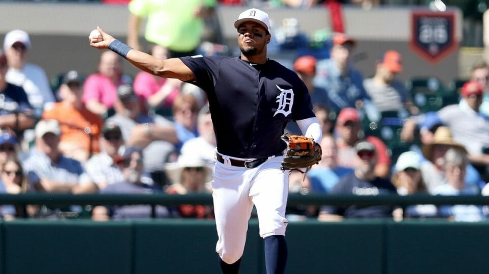Detroit Tigers throws to first base against the Philadelphia Phillies during the Grapefruit League spring training game at Joker Marchant Stadium on March 7, 2019, in Lakeland, Florida.