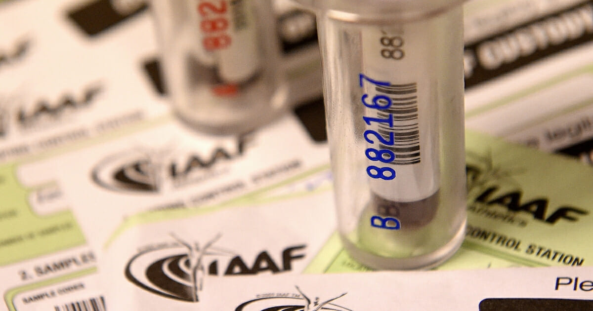 Athletes' blood samples are ready to be analyzed at an anti-doping laboratory.