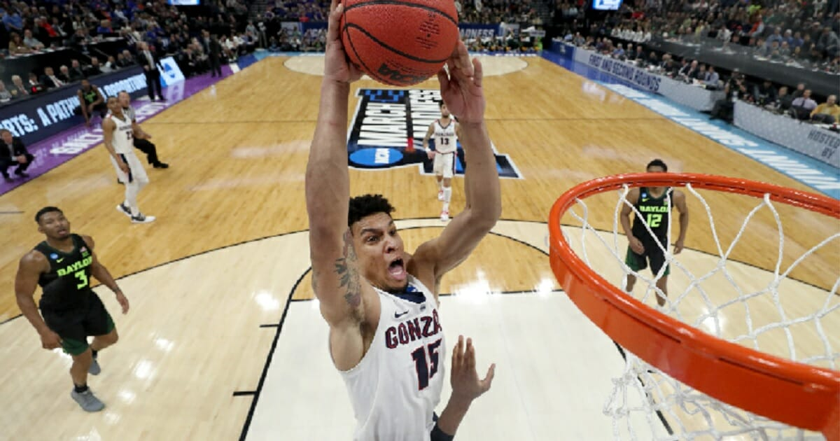 Gonzaga's Brandon Clarke dunks the ball against the Baylor Bears in last week's Second Round game of the of the NCAA Basketball Tournament at Vivint Smart Home Arena in Salt Lake City, Utah.
