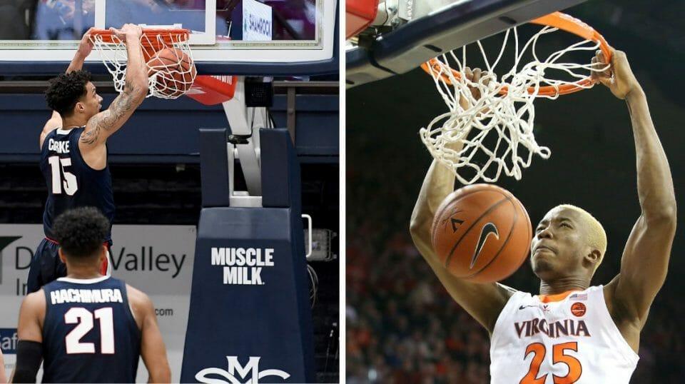 Brandon Clarke of the Gonzaga Bulldogs slam dunks, left. Mamadi Diakite of the Virginia Cavaliers slam dunks, right.