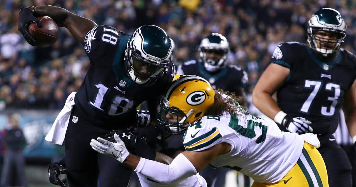 Dorial Green-Beckham of the Philadelphia Eagles is tackled after a reception during a Nov. 28, 2016, game against the Green Bay Packers at Lincoln Financial Field.