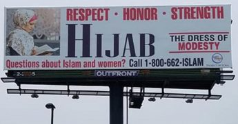 A billboard promoting the wearing of the hijab.