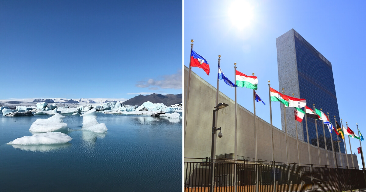 An iceberg and the United Nations building