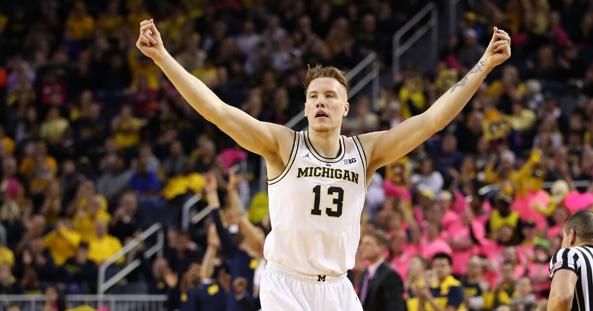 Ignas Brazdeikis of the Michigan Wolverines reacts to a first half three point basket while playing the Maryland Terrapins at Crisler Arena on Feb. 16, 2019 in Ann Arbor, Michigan.