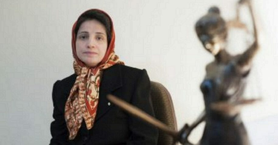 Iranian human rights lawyer Nasrin Sotoudeh, poses for a photograph in her office in Tehran, Iran, in 2008.