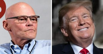 James Carville, left, and President Donald Trump.